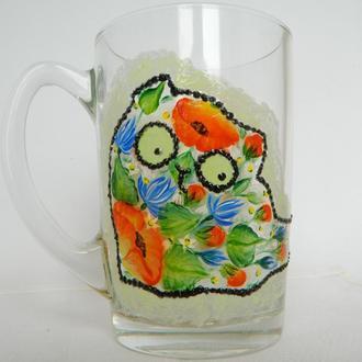 Чашка стеклянная с росписью