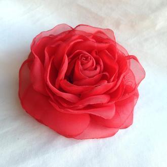 """Брошь из ткани цветы """"Красные розы и гвоздики"""""""