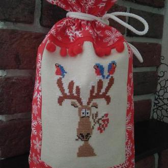 Мешок для подарков на новый год, Рождество с вышивкой. Подарок, упаковка, декор.