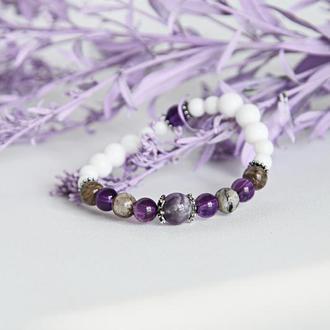 Браслет из натуральных камней в серебре, подарок девушке