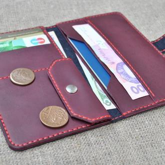 Красивый кожаный кошелек K73-600+800+red