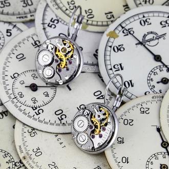 Строгие серьги в стиле steampunk минимализм с настоящими часами (под заказ)
