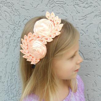 Персиковый красивый ободок на день рождение Обруч на голову Украшение для волос Подарок для девочки