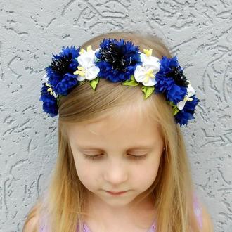 Венок с васильками на голову Обруч для девочки Синий с белым ободок к вышиванке Украшение для волос