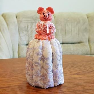 Свинка Хрюшка на кружку, грелка на чашку, баба на чайник, кукла грелка