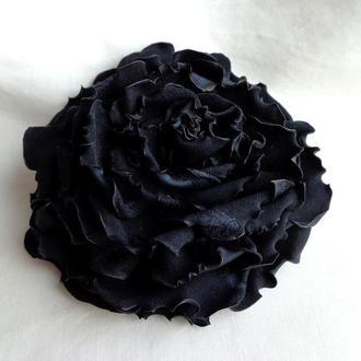 """Брошь из ткани - черные цветы -  """"Черные розы и гвоздики"""""""