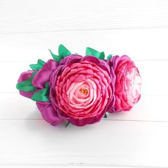 Фиолетовый цветочный объемный ободок Украшение для волос на фотосессию Обруч на голову Подарок