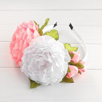 Нежный объемный ободок на голову Обруч с розами для фотосессии Украшение для волос с цветами Подарок