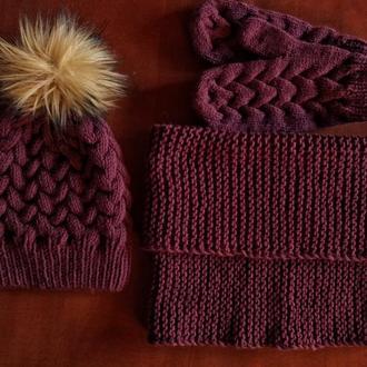 Комплект, шапка, снуд, варежки