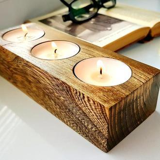 Подсвечник из дерева на 3 свечи