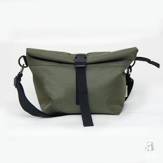 Lunch bag оливковый XL з длинным ремнем термосумка