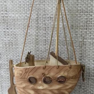 """Коллекционный керамический  колокольчик """"Кораблик"""""""