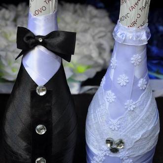 Свадебное украшение на бутылки шампанского