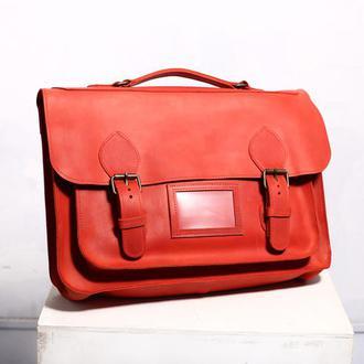 Кожаная сумка-портфель красного цвета