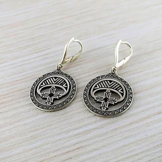 Сережки-оберіг ′Лунниця з хрестом′ (срібло, камені)