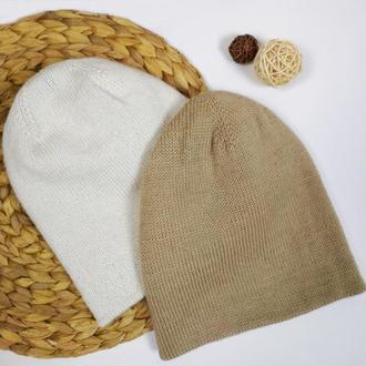 Bregoli design двойная шапка бини супер теплая бежевая капучино альпака меринос