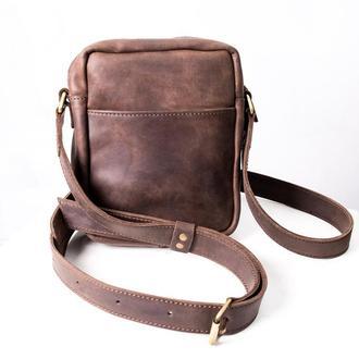 Мужская сумка через плечо из коричневой кожи