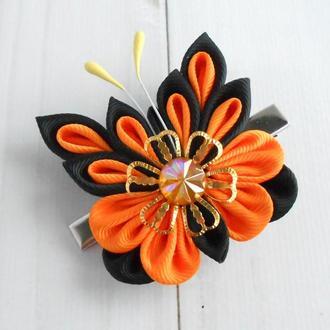 Заколка для волос девочке Украшение с бабочкой Монарх канзаши зажим Подарок на день рождение ребенку