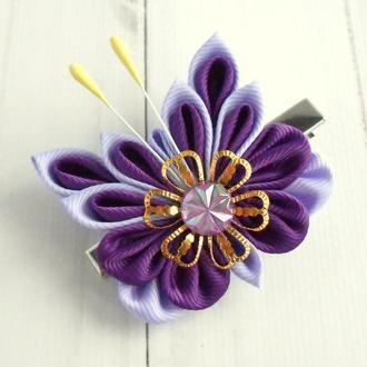 Заколка с фиолетовой бабочкой Украшение для волос на фотосессию Зажимы канзаши Подарок для девочки