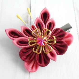Бордовая заколка для девочки Украшение для волос с бабочкой Подарок на день рождение Зажим канзаши