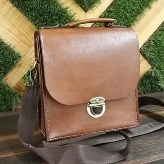 Мужская кожаная сумка почтальонка / мужской портфель кожаный на длинном ремне