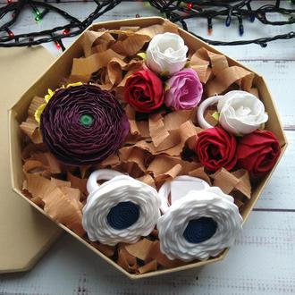 Подарок для девочки, набор резинок, резинки для волос, цветы на резинке