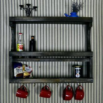 Дерев'яна настінна полка для посуду, спецій та круп. Навісна поличка для кухні.