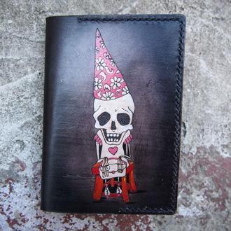 Обложка на паспорт скелет, кожаная обложка для паспорта