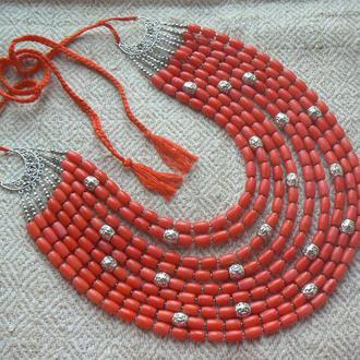 Коралове намисто, намисто з коралу, велике намисто з коралу, українське намисто, подарунок