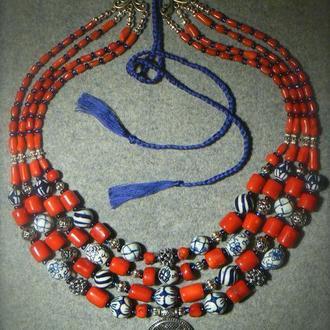 Коралове намисто, лунниця, подарунок для мами, подарунок коханій, велике намисто, природній корал