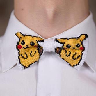 Вышитая галстук-бабочка Пикачу