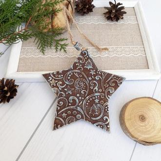 новогодняя игрушка подвеска на елку здвезда с 3d рисунком шоколад+бирюза+золото. Новогодний сувенир