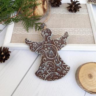 новорічна іграшка підвіска на ялинку ангел з 3d малюнком шоколад+бірюза+золото. Новорічний сувенір