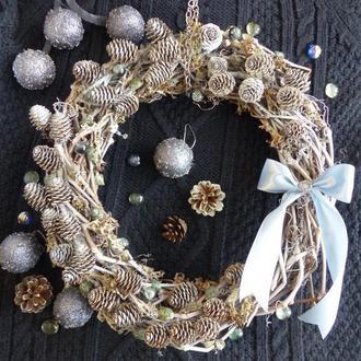 """Интерьерный Новогодний Рождественский венок """"Скандинавия"""", подарок"""