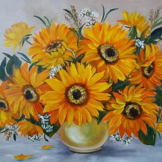 Картина маслом цветы Подсолнухи