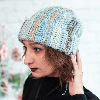 Шапка бини крупной вязки, шапка с отворотом