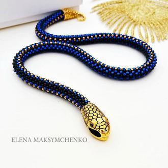 Браслет из японского бисера′Змейка′синий