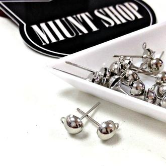 Основы-гвоздики  для серег серебро 6 мм