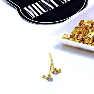 Основы-гвоздики  для серег золото 3 мм