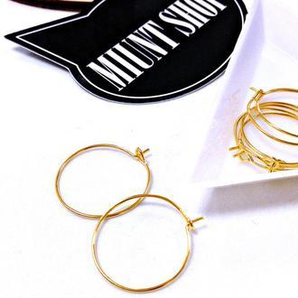 Основа-кольцо для серег золото 20 мм