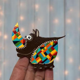 Брошь Веселый Носорог