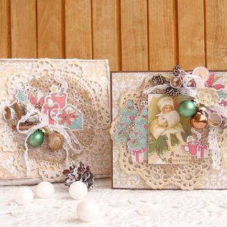 Винтажный набор: рождественская открытка+коробочка