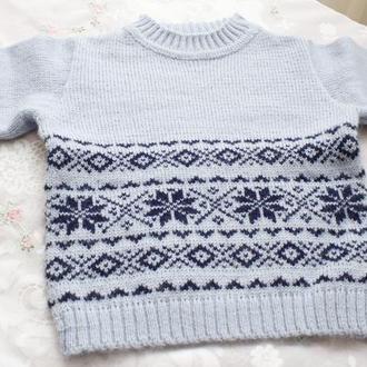 свитер голубой снежинки-ромбики