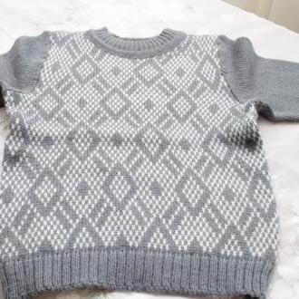 свитер серый ромбы на мальчика