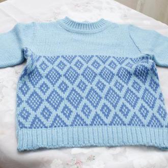 свитер бирюзовый с ромбами на мальчика