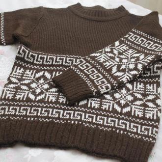 свитер коричневый снежинка на мальчика
