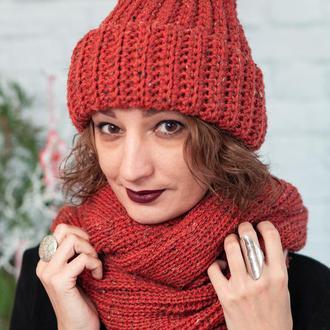 Комплект шапка бини и снуд приглушенного кирпичного цвета