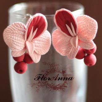 """Серьги с цветами """"Орхидеи с ягодами"""""""
