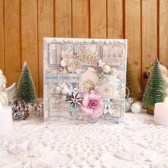 Снежная шебби открытка на Рождество