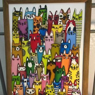 Картина на стекле. 50 ярких котов.